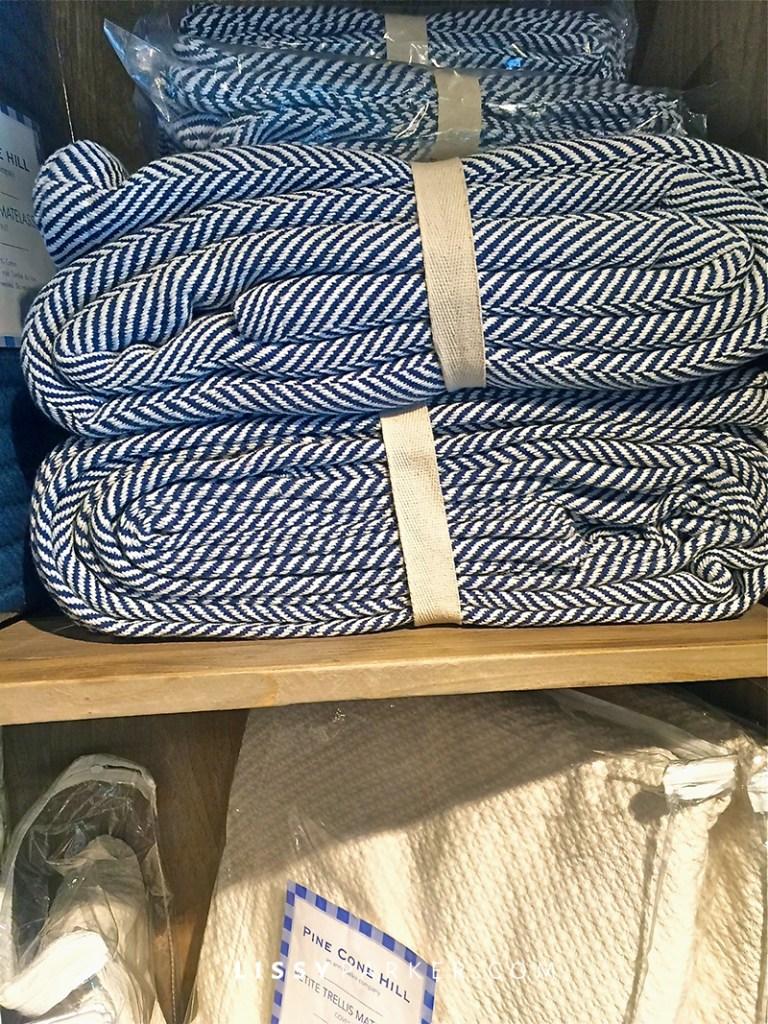 Blue herringbone blankets