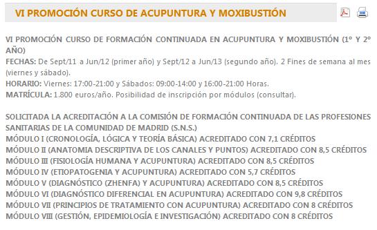 Curso de Acupuntura y Moxibustión, organizado por el Colegio Oficial de Médicos de Madrid