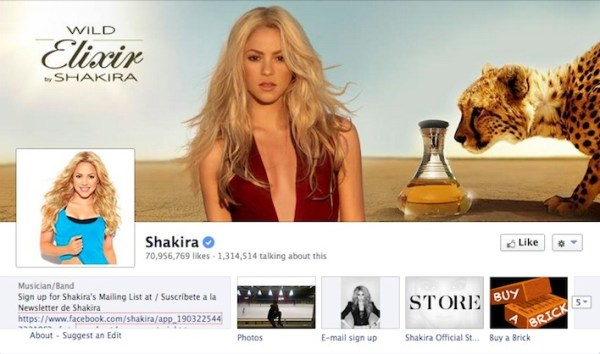 Shakira Facebook Page