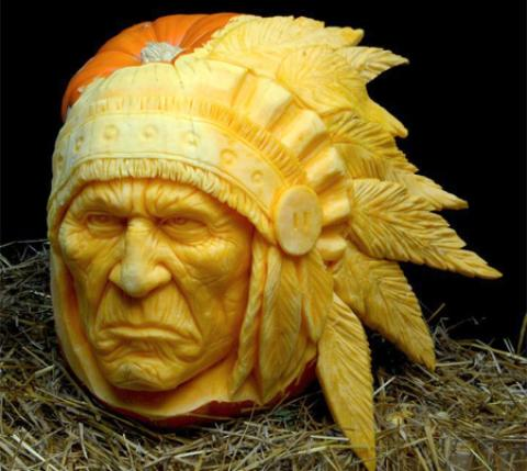 indian carved pumpkin