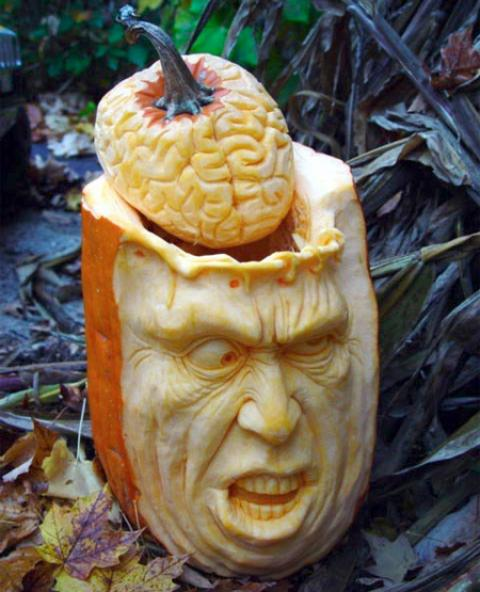 brain pumpkin carving