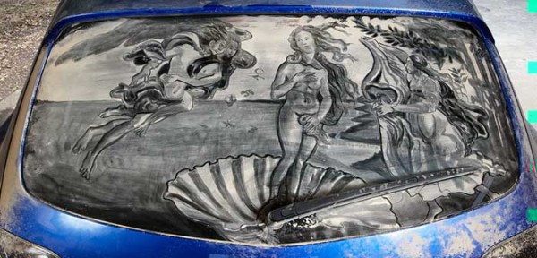 Birth of Venus on dirty car window