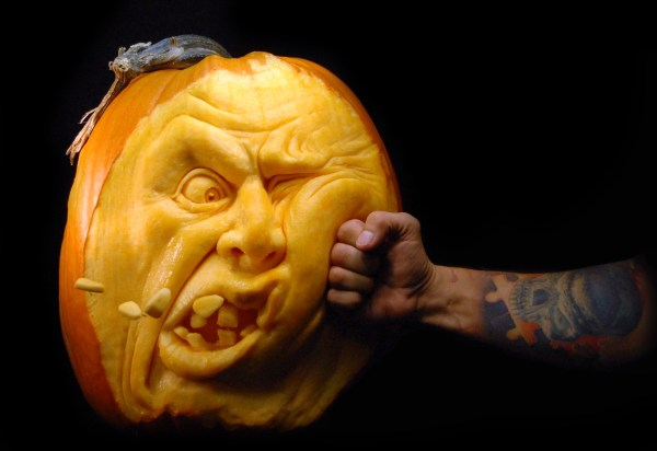 Punching a A Pumpkin Carving