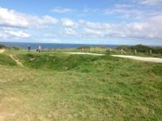 Crateras na colina de Omaha Beach