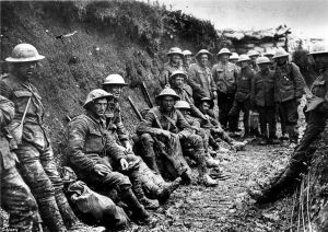 British troops in foxholes along the Western Front during World War 1
