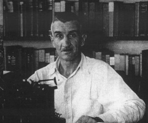 James Norman Hall at his typewriter in Tahiti