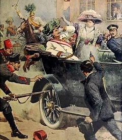 Newspaper illustration of the assasination of Arch Duke Franz Ferdinand of Austri and his wife Sophie