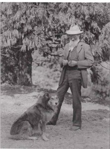 """John Muir and a dog that was supposed to look like """"Stickeen"""" but didn't."""