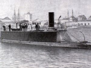 """""""The Destroyer""""  afloat at Sandy Hook , New Jersey, Captained by Joshua Slocum and bound for Brazil."""