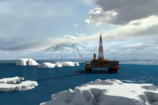 Arctic oil drilling platform