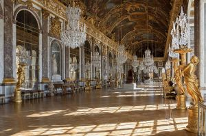 Hall of Mirrors at the Chateau Versailles,  built for the Sun King, Louis XIV