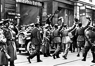German soldiers in Munich welcoming a revolt