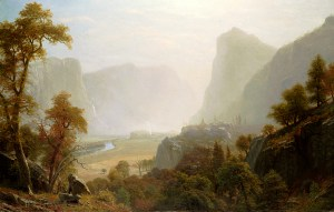 Oil Painting of the Hetch Hetchy Valley in the late 1800's by artist Albert Bierstadt