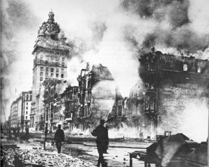 Fires rage throughout the destroyed City of San Francisco after the 1906 earthquake