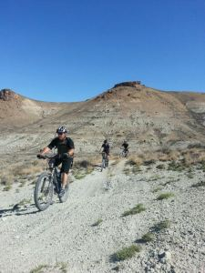 Green River Bike Park trail in promotional photo by the Sweetwater Bike Association