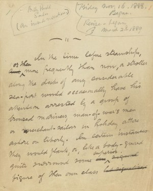 "Manuscript of ""Billy Budd"" discovered by Raymond Weaver among papers left with Melville's granddaughter"