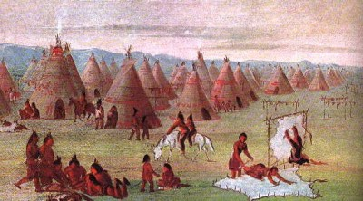 Comanchee Village witnessed and painted by George Catlin