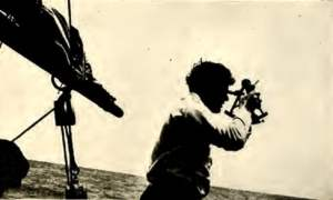 "Jack London takes a ""sighting"" with sextant."