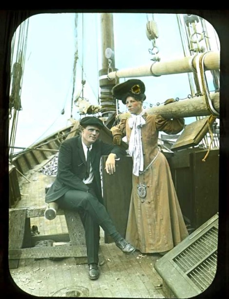Jack and Charmian London in fancy dress aboard the Snark, on their way to adventure
