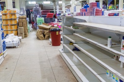 Empty market shelves. With 500% inflation people are buying necessary things while they can afford them