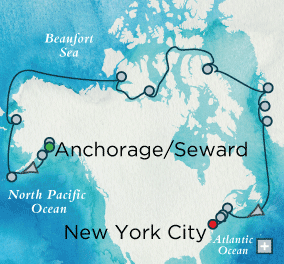 Published route of the Crystal Serenity cruise which begins August 16, 2016