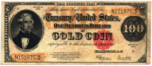 United States gold certificate. All US paper money was redeemable in gold until 1935.