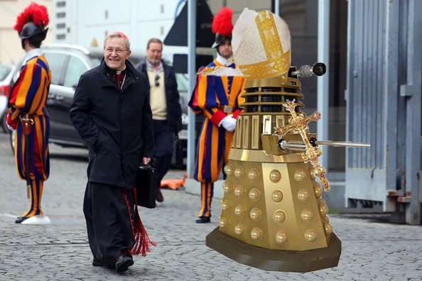 German Bishops break with Rome and inaugurate Dalek as their new supreme Pontiff.