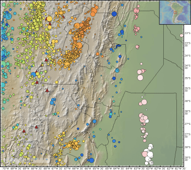 Topographic map of NW Argentina with earthquake epicenters