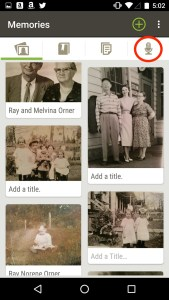 Screen shot showing the Memories App, by Family Search.