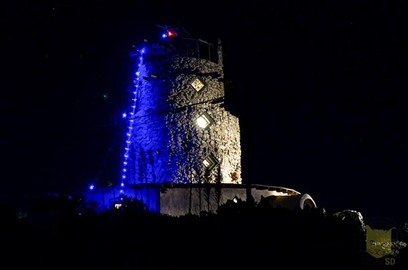 Desert view tower at night