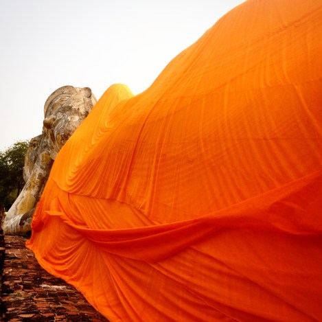 The reclining Buddha is 37 meters long and 8 meters high.