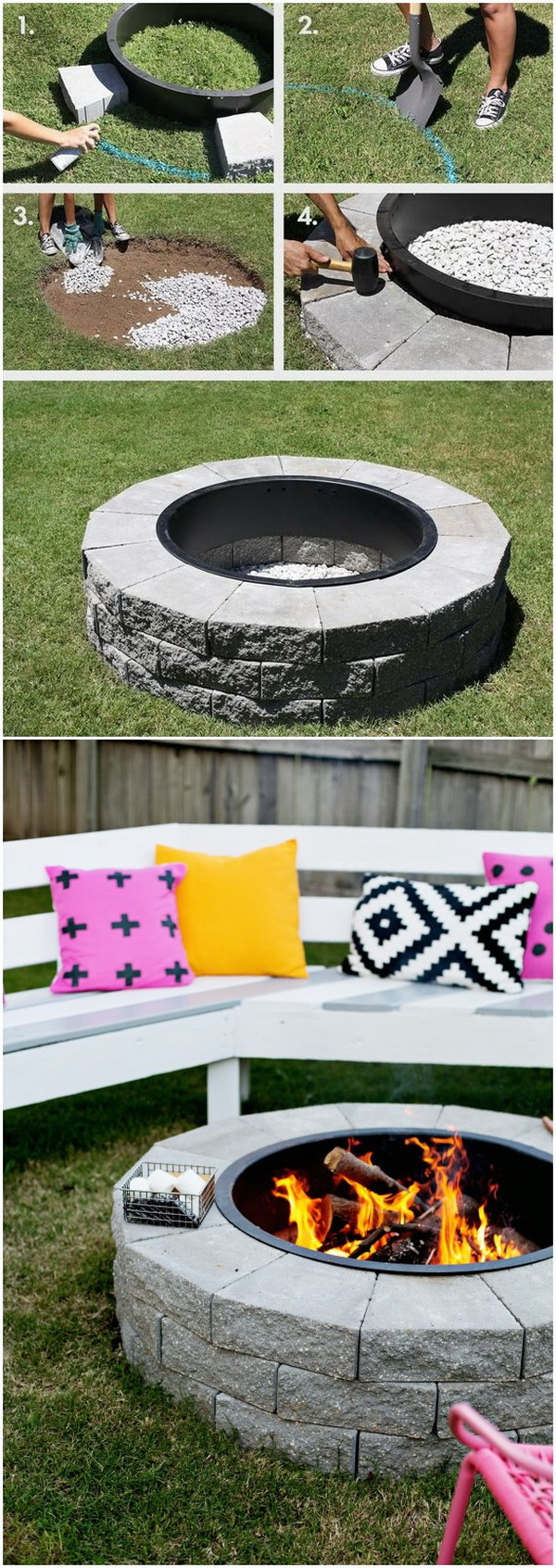 20 DIY Fire Pits for Your Backyard with Tutorials ... on Backyard Fire Pit Ideas Diy id=95764