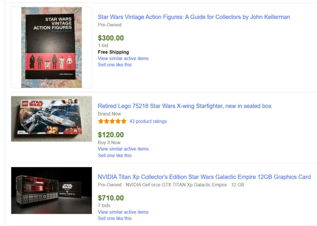 Star Wars Sold Items on eBay
