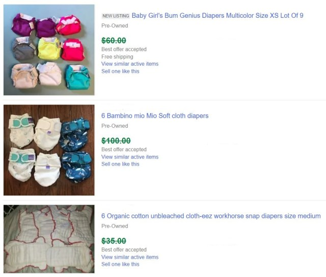 Cloth Diapers Sold On eBay