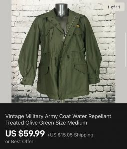 Vintage Military Coat Sold On eBay