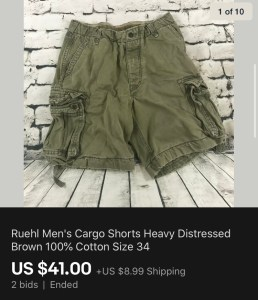 Ruehl Men's Cargo Shorts Sold On eBay