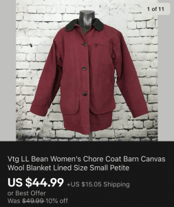 LL Bean Womens Chore Coat Sold On eBay