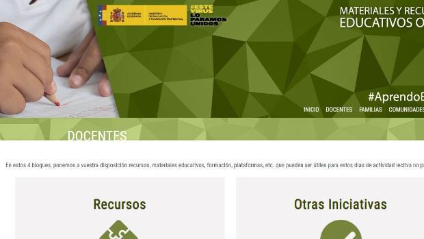 El Ministerio de Educación lanza una web con recursos para profesores y alumnos
