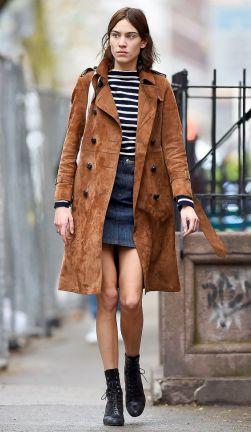 Alexa Chung seen wearing a brown coat and jean skirt in New York City Pictured: Alexa Chung Ref: SPL1255742 010416 Picture by: Robert O'neil/Splash News Splash News and Pictures Los Angeles: 310-821-2666 New York: 212-619-2666 London: 870-934-2666 photodesk@splashnews.com