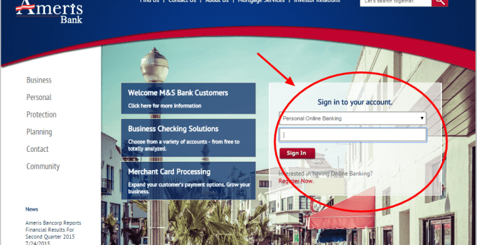 Ameris Bank Login form