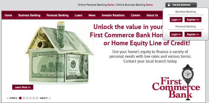 first commerce bank homepage login