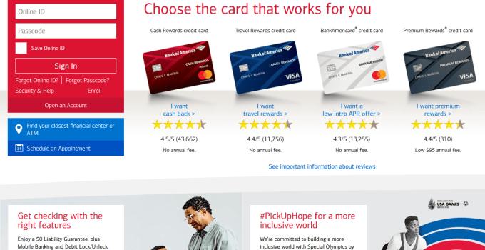 Bank of America Homepage