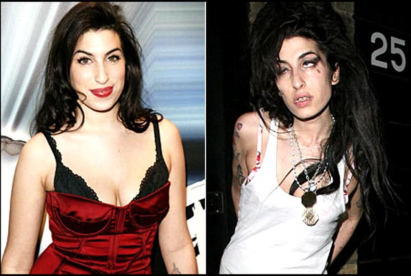 Amy Winehouse - List of Top 7 Celebrities who were ruined by Drugs and Alcohol