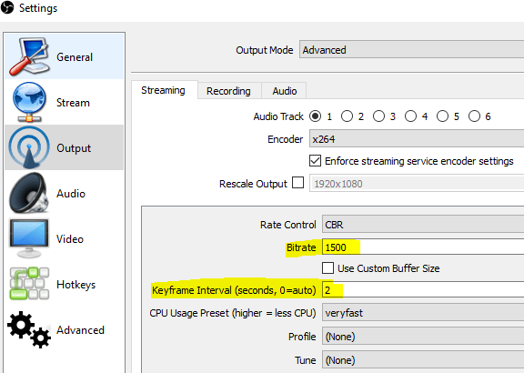 obs how to change max keyframe interval