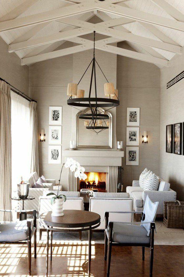 Déco Salon - joli salon avec plafond sous pente, avec quelle ...