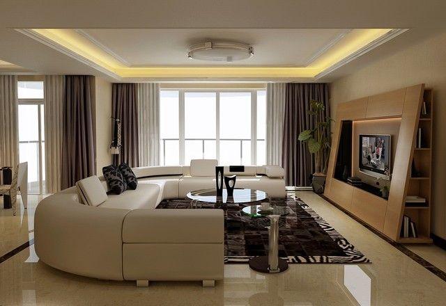 D co salon moderne canap d 39 angle en cuir couleur blanche listspir - Inspiration salon moderne ...