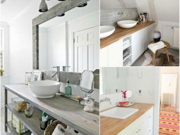 Id e d coration salle de bain tag res de salle de bain for Plan de travail salle de bain bois massif