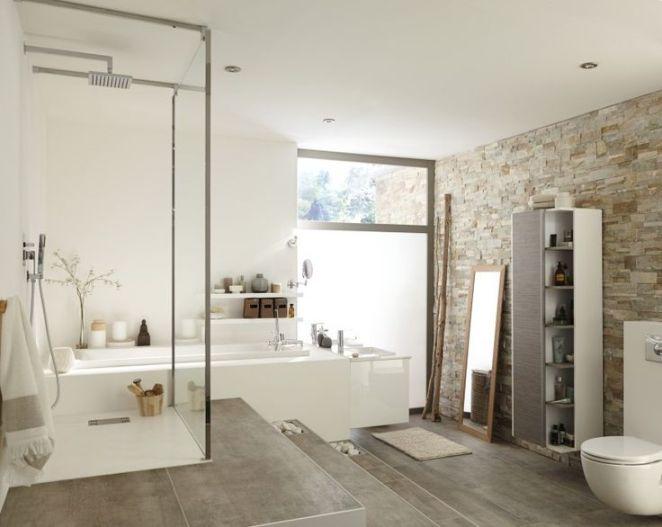Idée décoration Salle de bain - Salle de bains Blanc / Beige ...