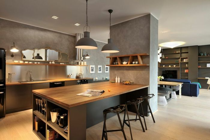 Idée relooking cuisine - offene küche wohnzimmer abtrennen offene ...
