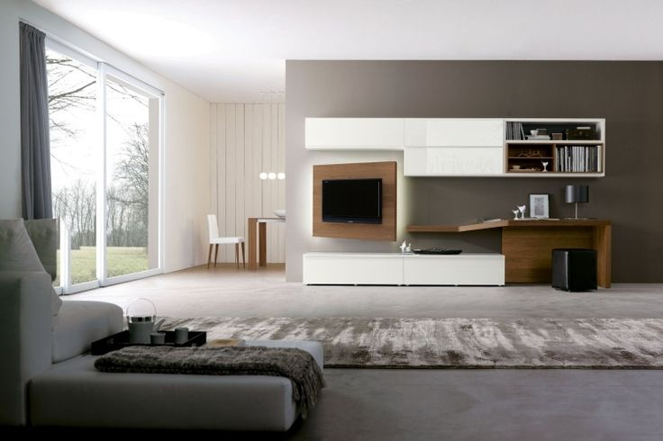 d co salon meuble tv avec partie orientable en bois dans le salon moderne. Black Bedroom Furniture Sets. Home Design Ideas